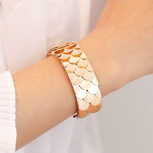 Golden hand bracelet cuff bangle dragon scales